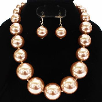 "19"" large faux pearl necklace bib collar choker"