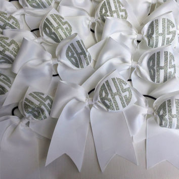 Glitter Monogram Big Cheer Bow, Monogrammed Gifts, Cheer Team Bows, Big Cheer Bow, Cheerleaders, White, Red, Black, Cheer Camp Bows