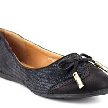 New Womens Londena Snake Textured Wing Tip Ballet Flats Shoes
