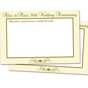 Ivory 50th Anniversary Favorite Memories - 50th Anniversary Wishes Cards - Gold Anniversary Party Gift for Couple 40th - 30th - 60th Elegant