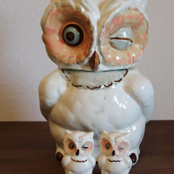 Vintage Shawnee Owl Cookie Jar & Salt and Pepper Shakers Vintage Retro Kitchen Decor