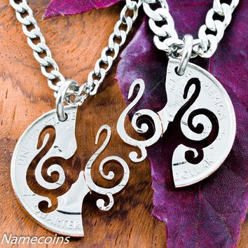 Interlocking Treble Clef Necklace set, Music jewelry, hand cut coin by Namecoins