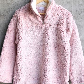 two tone sherpa half-zip pullover - blush