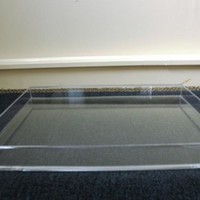 "CLEAR ACRYLIC LUCITE LARGE SERVING, STORAGE or DISPLAY ""RANDI"" TRAY 