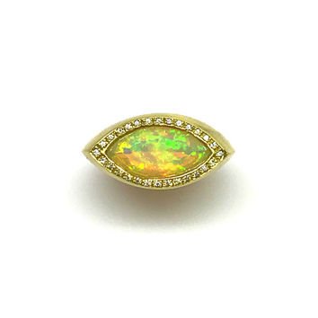 One of a Kind Solid 18 Karat Gold Opal and Diamond Lotus Ring