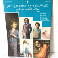 Vintage Bates Jiffy 17500 Crochet Knit Fashions Unisex Adults Kids Home Decor