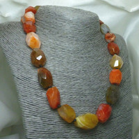 Carnelian Gemstone Nugget Faceted Polished Beaded Necklace 18 inch