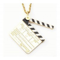 Original Handmade Pendant Necklace - Gold Movie Clapper Board