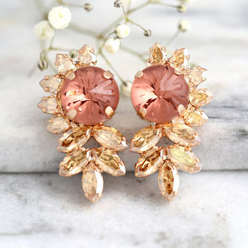Morganite Earrings, Bridal Morganite Earrings, Blush Bridal Earrings, Blush Rose Earrings, Swarovski Crystal Earrings, Bridesmaids Earrings