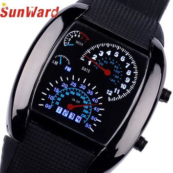 SunWard 2017 Fashion Aviation Turbo Dial Flash LED Watch Gift Mens Lady Sports Car Meter Stainless steel Dress Wristwatches