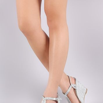 Metallic Braided Espadrille Open Toe Platform Wedge