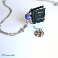 Book of shadows miniature Book Necklace