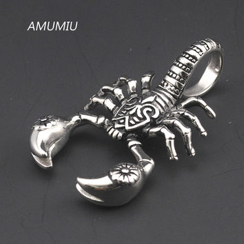 AMUMIU Scorpion 316L Stainless Steel Pendant Necklace High Quality Christmas Gifts For Father Boy Friend charms Punk KP002