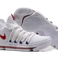 2017 Nike Mens Kevin Durant KD 10 White/Red Basketball Shoes