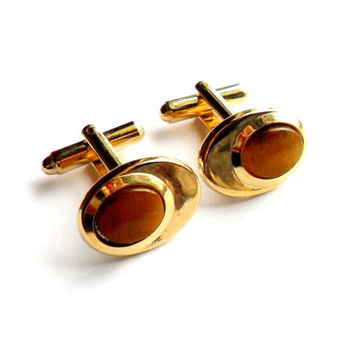 Vintage Tigers Eye Cufflinks Stone Gold Tone Brown Mens Shirt Suit Accessories Cuff Links Oval Cabochon VLV