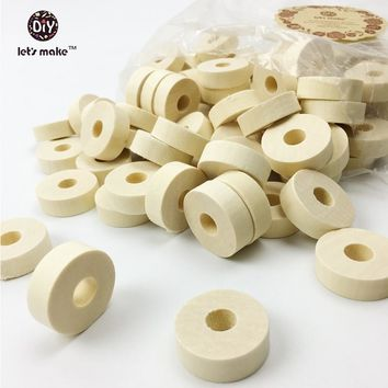 Let's Make unfinished wooden beads donuts round flat geometry large hole hollow Cylinder Barrel bead eco-friendly raw(100pc)