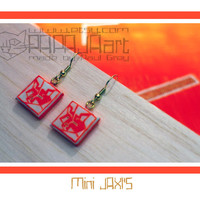 Mini JAXI'S - Wooden Hand Painted Earrings, Jewelry, Fox Jewellery, Wood Earrings, Earrings with Fox, white and fluorescent orange earrings