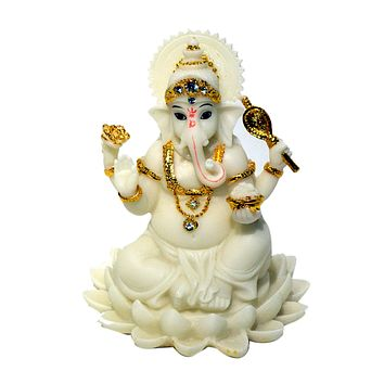 Ganesh Beautiful Statues Hindu Good Luck God (Blessing White Ganesha)