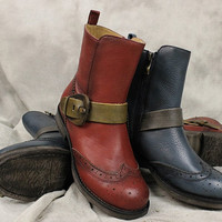 2016 Handmade Leather Short Boots for Women,Martin boots Riding boots,Womens fall Boots, Short Booties with Rubber Soles,Retro Red Boots