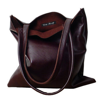 Leather Tote Bag, Dark Oxblood, Rich Mahogany Brown, Everyday Tote in soft leather