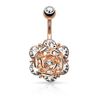 Flower Head Six CZ Gem Center Rose Gold Ion Steel Barbell Belly Button Ring B486