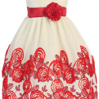 Ivory Tulle & Red Floral Soutache Ribbon Girls Holiday Dress 5-12