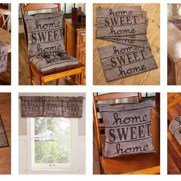 Rustic Home Sweet Home Themed Decor Tapestry Valance Kitchen Linens