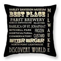 "Milwaukee Wisconsin Throw Pillow 14"" x 14"""