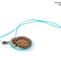 Free shipping Ammonite pendant necklace Gift for woman Unusual gift Mint brown jewelry boho necklace Simple jewelry Embroidered jewelry