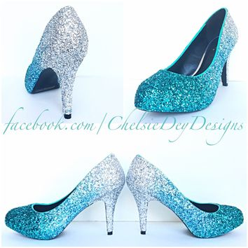 Blue Aqua Ombre Glitter High Heels, Something Blue Wedding Shoes, Turquoise Prom Pumps