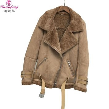 Yuxinefng 2018 Autumn Winter Suede Leather Jacket Women Soft Faux Thick Warm Snow Jackets Lambs Wool Motorcycle Coats