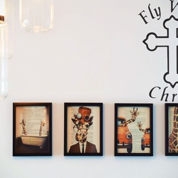 Text : Fly With Christ with Bible Cross  Vinyl Wall Decal - Removable (Indoor)