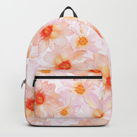 orange and pink watercolor dahlias Backpacks by Sylvia Cook Photography