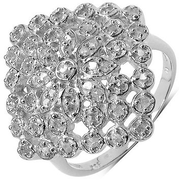 0.34 Carat Genuine White Diamond .925 Sterling Silver Ring