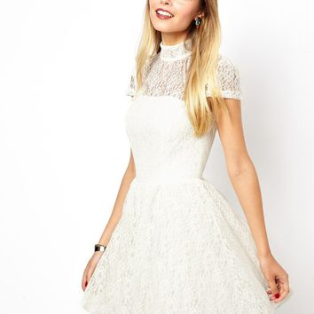 ASOS Lace High Neck Prom Dress
