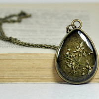 Real Flower Drop Pendant, Resin Flower Necklace OOAK