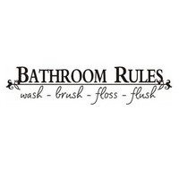 """Promotion """"Bathroom Rules..."""" English Quote/Saying Vinyl Wall Art Decals/Window Stickers /Home D¡§?cor"""