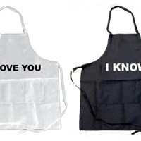 Funny Guy Mugs (Pack of 2) I Love You and I Know Aprons, Black/White