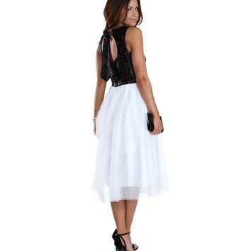 Promo-kami- Ivory Sequin Party Dress