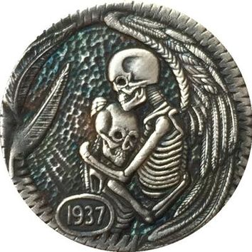 Hobo Nickel 1937-D  skeletons angels embrace