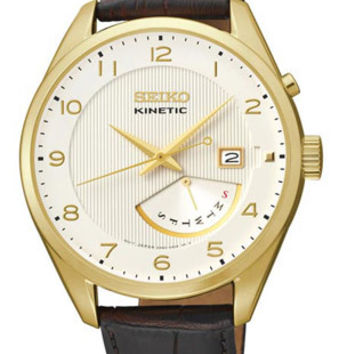 Seiko Kinetic Mens Leather Strap Watch - Gold-Tone - Day / Date - Brown Leather
