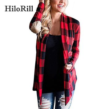 HiloRill Knitted Cardigan Women Fall 2017 Fashion Plaid Print Long Sleeve Sweater Thin Cardigan Poncho Elbow Patchwork Coat XXL