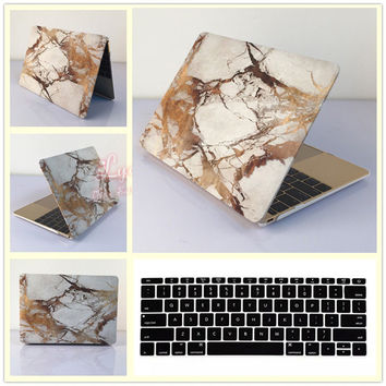 2in1 Gold Marble Hard Case Cover + Keyboard Skin for Macbook Air Pro 11 12 13 15 Laptop Bag Free Shipping