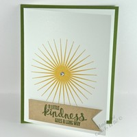 Handmade Kindness Thank You or Friendship Card With Sun Burst