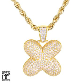 "Jewelry Kay style X Initial Custom Bubble Letter Gold Plated Iced CZ Pendant 24"" Chain Necklace"