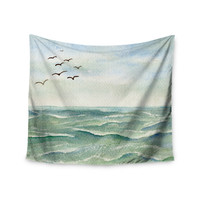 "Cyndi Steen ""Flock Flying Low"" Blue Coastal Wall Tapestry"