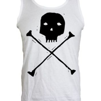 Skull and Crossbones Men's White Vest