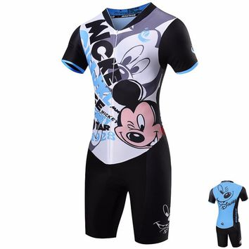 Women Mickey Mouse Jumpsuit Short Ropa Ciclismo Maillot Cycling Jersey Sets 2018 Bike Girls Clothing Pro Team Triathlon Suit