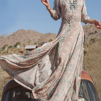 Multicolor V-neck 3/4 Sleeve Retro Floral Split Maxi Dress