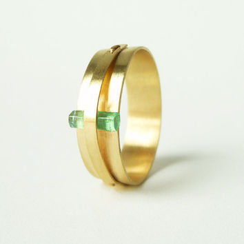 Raw Columbian Emerald and 14k Yellow Gold Ring Less by JWMetalArts